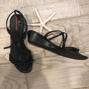 Prada Strappy Knot Wedge Sandals, Black